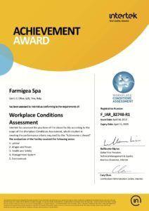 Premio gestione personale e sicurezza lavoro WCA di Intertek a Farmigea